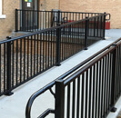 Railing outside of commercial building